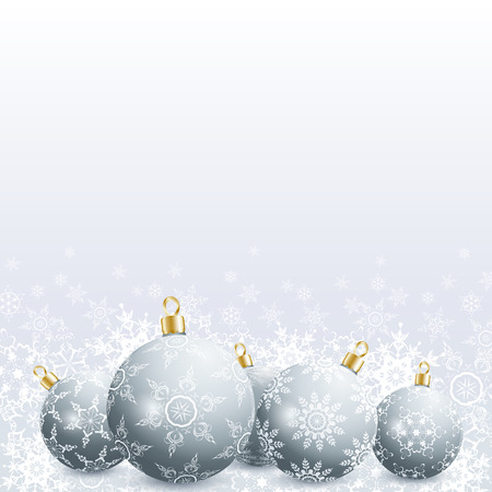 Festive New Year and Christmas card with grey christmas balls and snowflakes. Stylish New Year and Christmas background. Beautiful winter wallpaper. Vector illustration Vector