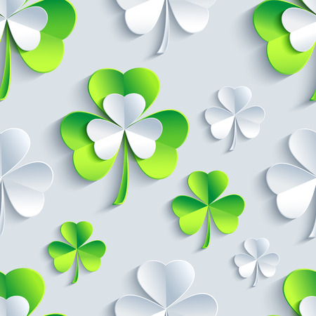 stpatrick: Beautiful background seamless pattern with grey and green stylized 3d leaf clover for st.Patrick day. Floral trendy stylish wallpaper. Vector illustration