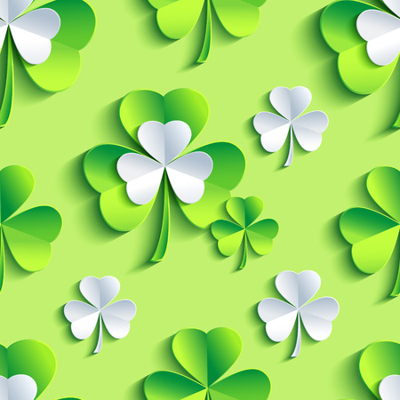 clover backdrop: Beautiful stylish background seamless pattern with grey and green stylized 3d leaf clover for st.Patrick day. Floral trendy creative wallpaper. Vector illustration