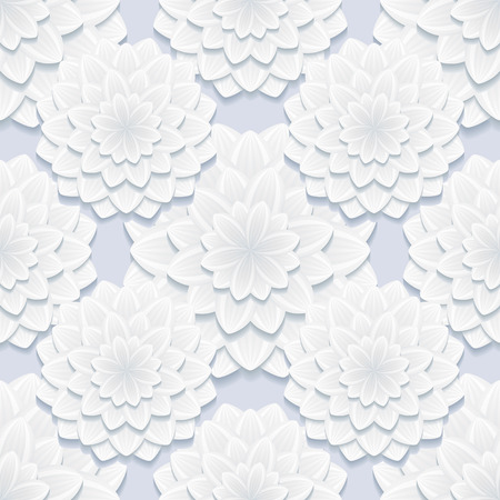 3d flower: Beautiful stylish background seamless pattern gray with 3d flower chrysanthemum. Floral trendy creative seamless wallpaper. Vector illustration