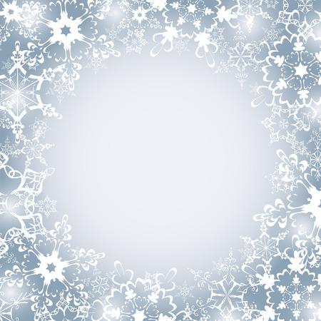 celebratory: Beautiful winter luxury festive frame with white stylized snowflakes. Christmas and New Year celebratory card with place for text. Stylish celebratory grey - white background. Vector illustration