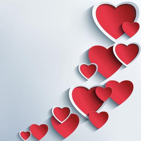 saint valentin coeur: Trendy abstraite Valentines background journée grise avec des coeurs rouges 3d. Joli papier peint Creative avec des coeurs. Belle carte de l'amour pour la St Valentin. Vector illustration. Illustration