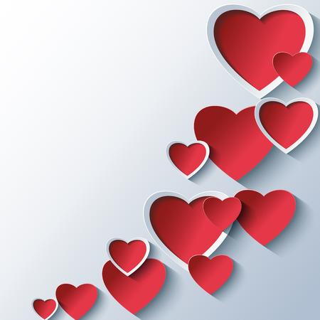decorative: Trendy abstraite Valentines background de jours gris avec 3d coeurs rouges stylisées. Joli papier peint Creative. Belle carte de l'amour pour la St Valentin. Vector illustration. Illustration