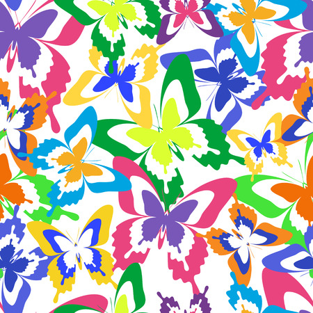 cartoon butterfly: Beautiful background seamless pattern with flying colorful butterflies over white. Bright stylish trendy wallpaper. Vector illustration