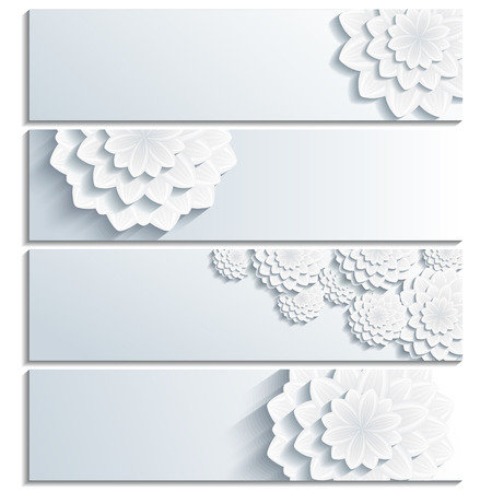 3d flower: Set of beautiful trendy banner grey with 3d flower chrysanthemum isolated on white background. Creative stylish floral wallpaper with place for text. Greeting or invitation card. Vector illustration