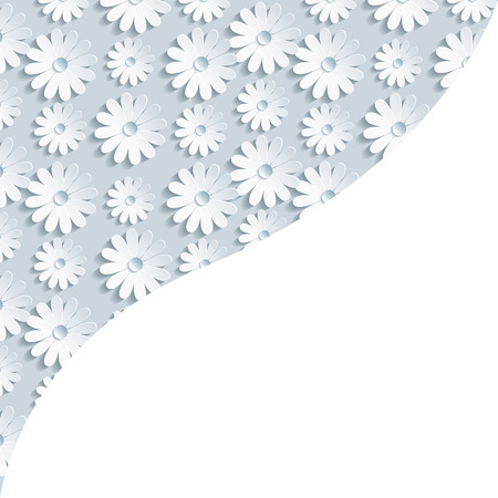 modern wallpaper: Stylish creative gray background with 3d white flower chamomile. Floral modern wallpaper. Place for text. Vector illustration. Illustration