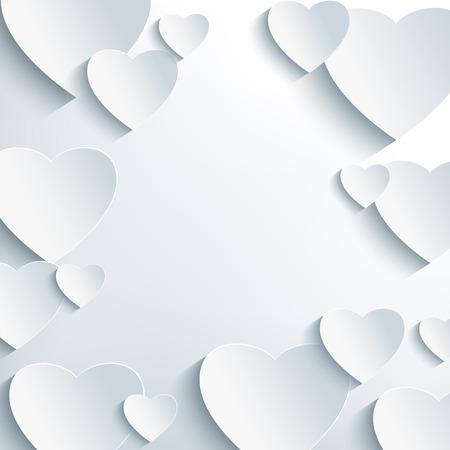 Resumen de antecedentes día con estilo gris de San Valentín con corazones de papel 3d. Papel tapiz de moda creativa. Tarjeta de amor hermoso para San Valentín día con el lugar de texto. Ilustración del vector. Foto de archivo - 36085343