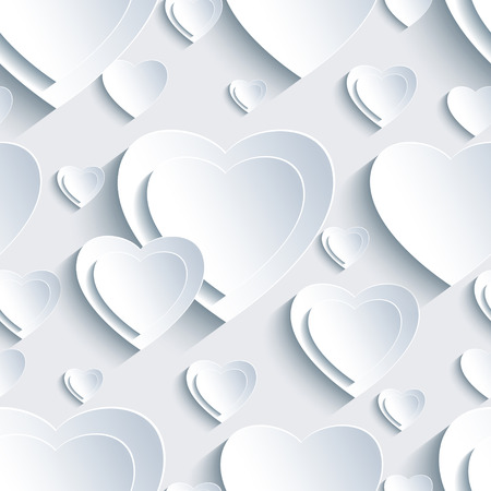 devotions: Stylish grey background seamless pattern with white 3d paper hearts for Day Valentine. Beautiful abstract trendy wallpaper. Modern Valentine