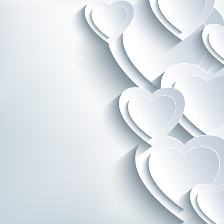 Modern grey Valentines day background with white 3d paper hearts. Creative trendy abstract wallpaper. Beautiful love card for Valentines day with place for text. Vector illustration.