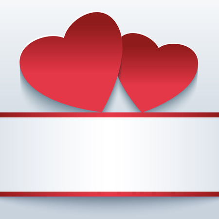 Trendy abstract love background with two red paper 3d hearts. Beautiful stylish Valentine Vector