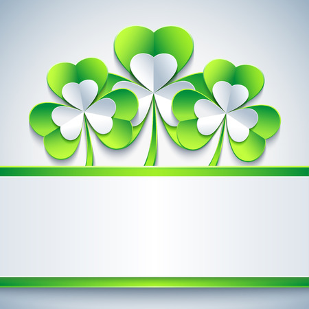 st  patrick day: Stylish abstract St. Patricks day card with grey and green 3d leaf clover. Trendy spring background with paper - place for text. Beautiful St. Patrick day wallpaper. Vector illustration