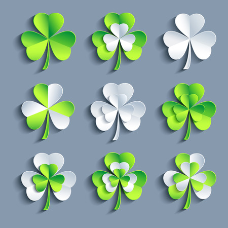 Set of stylized trendy white and green 3d Patricks leaf clover isolated on grey background. Beautiful elements of design for St. Patrick Vector