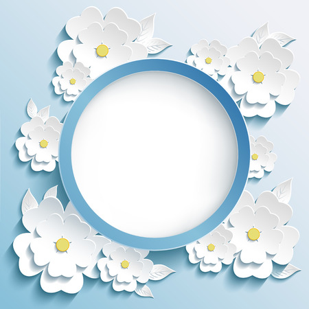 Beautiful trendy round frame with 3d white flowers sakura - japanese cherry tree and leaves. Greeting or invitation card with stylized blossoming sakura. Modern stylish blue background. Vector illustration