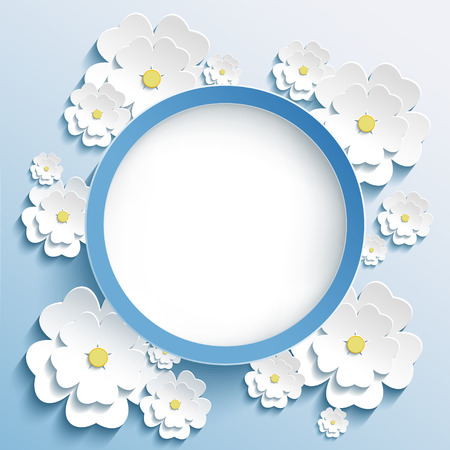 white flower: Beautiful trendy round frame with 3d white flowers sakura - japanese cherry tree. Greeting or invitation card with stylized blossoming sakura. Stylish modern blue background. Vector illustration