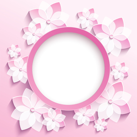 Beautiful trendy round frame with 3d white-pink flowers sakura - japanese cherry tree.n