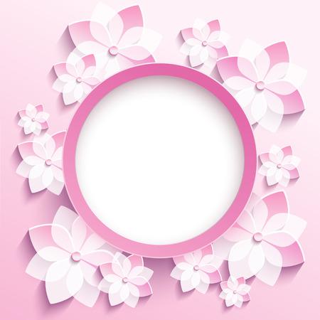 Beautiful trendy round frame with 3d white-pink flowers sakura - japanese cherry tree.n