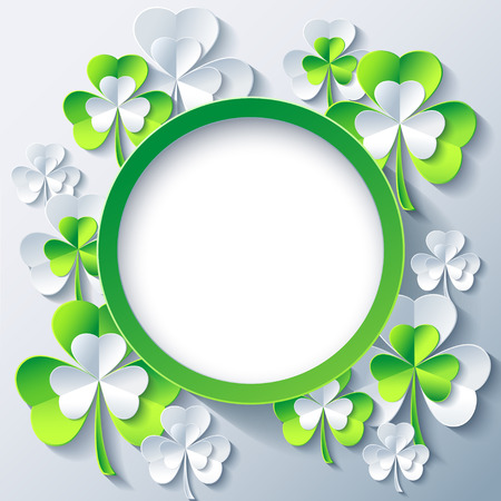 Beautiful trendy round frame with green - grey 3d leaf clover. Greeting or invitation card with stylized clover for St. Patricks day. Stylish modern gray background, place for text. Vector illustration Vector