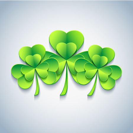 Beautiful stylish Patricks day card gray with three green 3d leaf clover. Trendy Patricks day background. Modern floral spring wallpaper. Vector illustration Vector