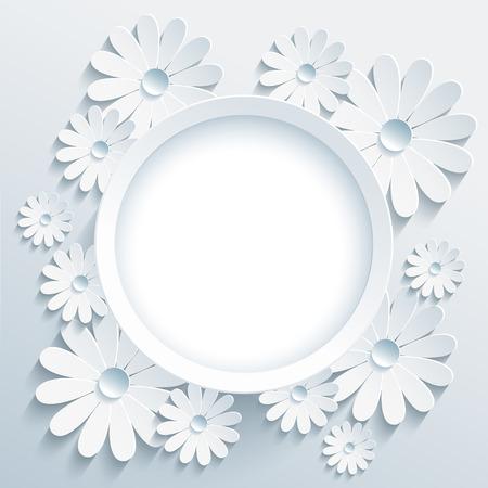白で美しいおしゃれなラウンド フレーム 3 d 花カモミール。創造的な様式化された鎮静と挨拶や招待状のカードです。スタイリッシュなモダンな灰