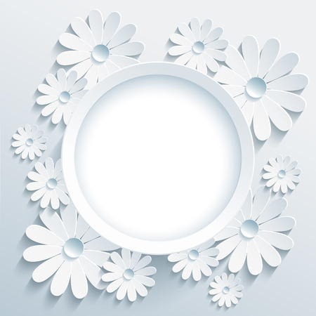 Beautiful trendy round frame with white 3d flower chamomile. Greeting or invitation card with creative stylized chamomiles. Stylish modern grey background, place for text. Vector illustration