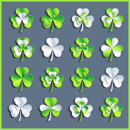 Set of beautiful stylized white and green 3d Patricks leaf clover isolated on grey background Vector