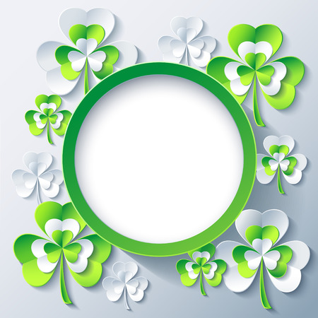 clover backdrop: Beautiful trendy round frame with grey and green 3d leaf clover. Stylish greeting or invitation card with stylized clover for St. Patricks day. Gray modern background, place for text. Vector illustration