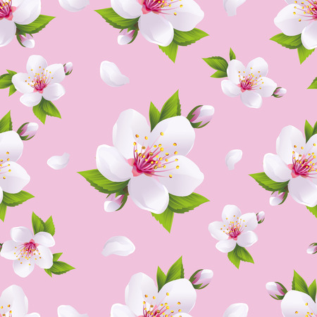 Beautiful light background seamless pattern with white sakura blossom - japanese cherry tree and flying petals. Floral spring pink wallpaper. Vector illustration Vector