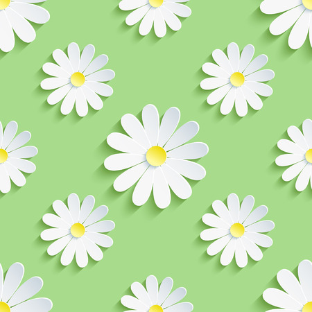 Beautiful spring background seamless pattern green with white 3d flower chamomile. Floral trendy creative wallpaper. Vector illustration Vector