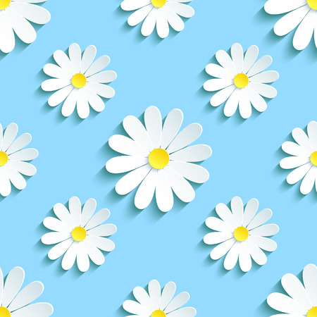 Beautiful spring background seamless pattern blue with white 3d flower chamomile. Floral trendy creative wallpaper. Vector illustration Ilustracja