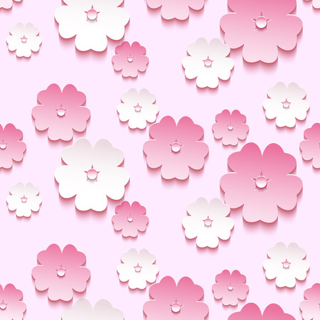Beautiful trendy background seamless pattern with pink - white blossoming 3d flower sakura - japanese cherry tree. Floral modern stylish wallpaper. Spring background. Vector illustration