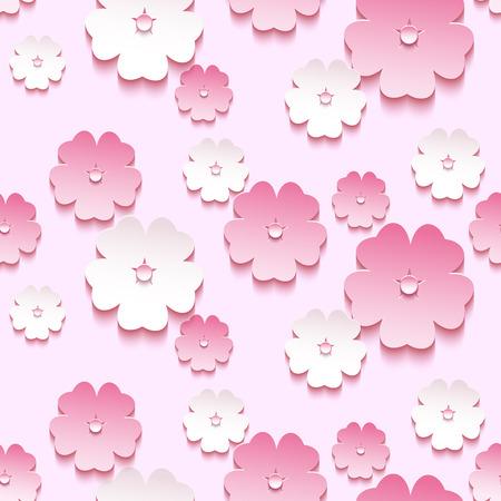 Schönes trendy Hintergrund nahtlose Muster mit rosa - weiß blühenden Blume 3d Sakura - japanischer Kirschbaum. Floral modernen stilvollen Tapeten. Frühling Hintergrund. Vektor-Illustration
