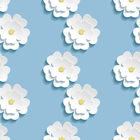 3d paper art: Beautiful trendy romantic background seamless pattern blue with white blossoming 3d flower sakura - japanese cherry tree. Floral stylish modern wallpaper. Vector illustration Illustration