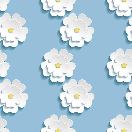 Piękne modne romantyczne tło bez szwu deseń niebieski z białym kwiatem 3D kwitnących sakura - Japoński wiśniowe drzewo. Floral stylowe nowoczesne tapety. Ilustracji wektorowych