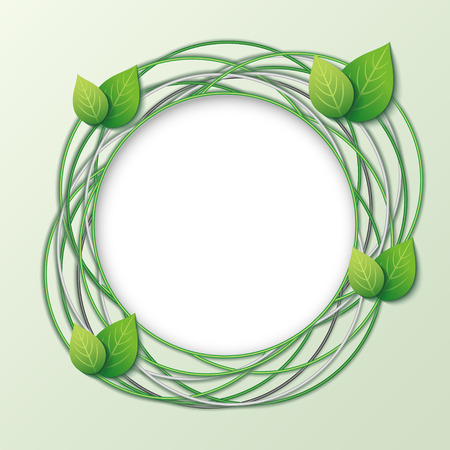Eco creative round frame with circles and fresh green 3d leaves. Abstract modern stylish background with place for text. Vector illustration Vector