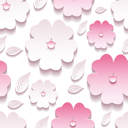 Beautiful trendy background seamless pattern with white and pink blossoming 3d flower sakura and leaves. Floral stylish modern wallpaper. Vector illustration
