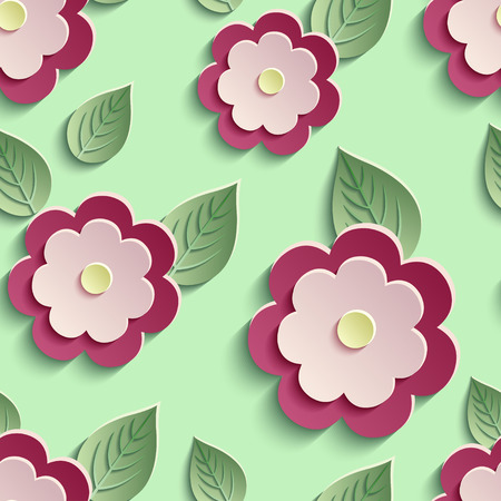 modern wallpaper: Beautiful trendy nature background seamless pattern with red - pink summer 3d flower and leaves. Floral stylish modern wallpaper. Vector illustration