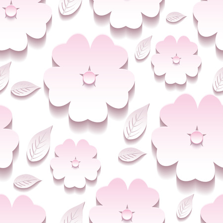 Beautiful trendy background seamless pattern with pink and white blossoming 3d flower sakura and leaves. Floral stylish modern wallpaper. Greeting or invitation card. Vector illustration Vector
