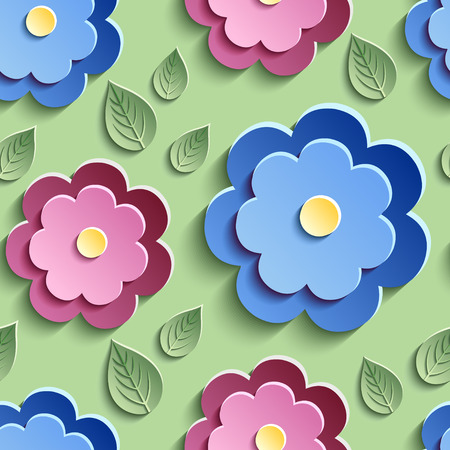 Beautiful trendy nature background seamless pattern with red, pink and blue summer 3d flowers and green leaves. Floral stylish modern wallpaper. Vector illustration