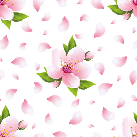 Beautiful light background seamless pattern with pink sakura blossom - japanese cherry tree and flying petals. Floral spring nature wallpaper. Vector illustration