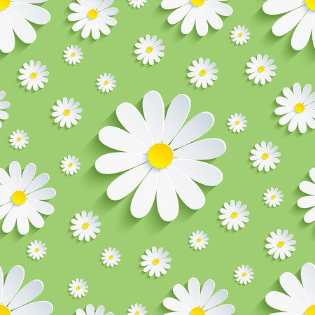 Beautiful spring nature background seamless pattern green with white 3d flower chamomile. Floral trendy stylish wallpaper. Vector illustration