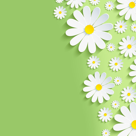 3d flower: Beautiful spring nature background with 3d flower chamomiles. Stylish modern creative floral wallpaper. Greeting or invitation card. Vector illustration