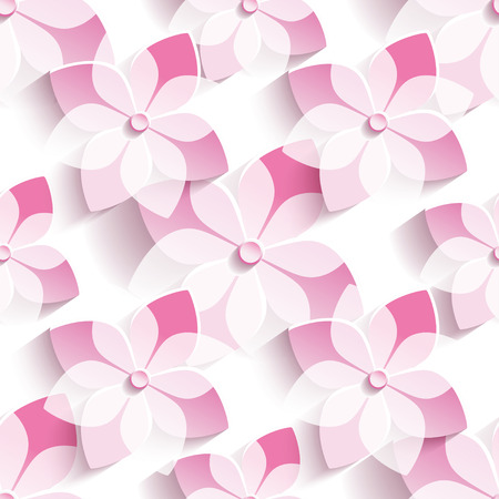 womans: Beautiful stylish modern seamless pattern with 3d pink sakura blossom, japanese cherry tree. Floral trendy seamless background. Spring wallpaper with stylized flowers over white. Vector illustration
