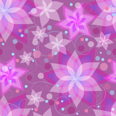 Beautiful ornamental background seamless pattern with pink and purple summer flowers lilies, circles and swirls. Floral stylish bright wallpaper with violet stylized flowers. Vector illustration Vector
