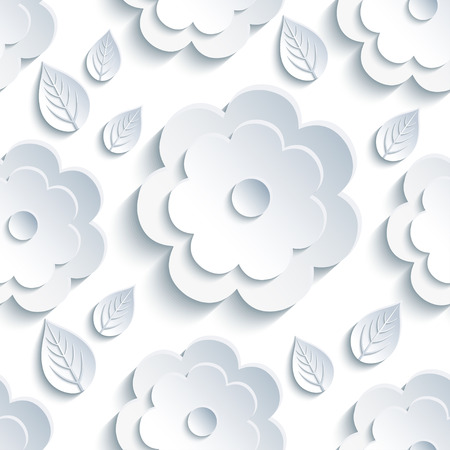 3d flower: Beautiful trendy nature background seamless pattern with grey - white summer 3d flower and leaves. Floral modern gray wallpaper. Stylish greeting or invitation card. Vector illustration