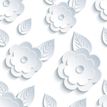 modern wallpaper: Beautiful trendy nature background seamless pattern with white - grey summer 3d flower and leaves. Floral stylish modern wallpaper. Greeting or invitation card. Vector illustration