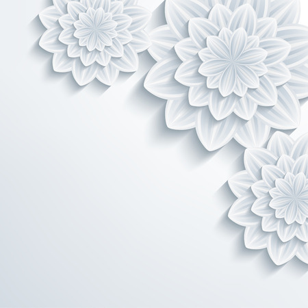 Floral trendy creative background with white and grey stylized 3d flowers chrysanthemum. Beautiful stylish modern wallpaper. Greeting or invitation card for wedding, birthday and life events. Vector illustration Vettoriali