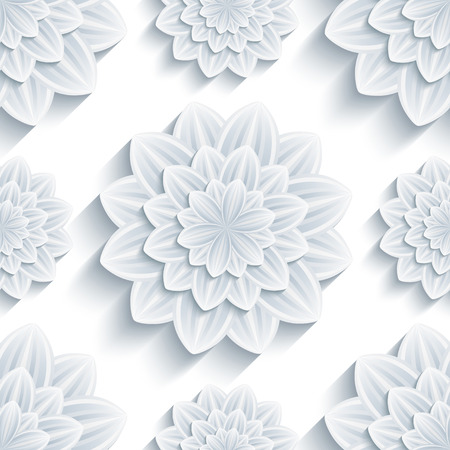 Beautiful trendy nature background seamless pattern with grey - white summer 3d flower chrysanthemum. Floral modern gray wallpaper. Stylish greeting or invitation card. Vector illustration Vector
