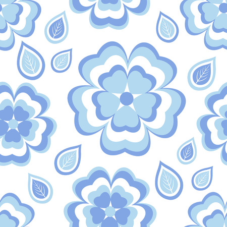 modern wallpaper: Beautiful trendy nature background seamless pattern with stylized blue - white sakura blossom - japanese cherry tree and leaves. Floral stylish modern wallpaper. Greeting or invitation card with flowers. Vector illustration