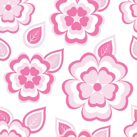 modern wallpaper: Beautiful stylish seamless pattern with stylized pink - white sakura blossom - japanese cherry tree and leaves. Nature background with spring flowers. Floral trendy modern wallpaper. Greeting or invitation card. Vector illustration