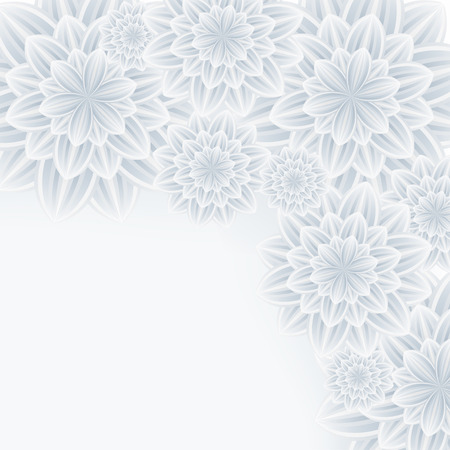 Floral trendy romantic background with white and grey stylized flowers chrysanthemum. Beautiful stylish modern wallpaper. Greeting or invitation card for wedding, birthday and life events. Vector illustration Vector